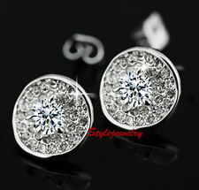 White Gold Filled Bridal Round Stud Earring Made With Swarovski Crystal IE84