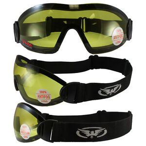FLARE WING SKYDIVE SKYDIVING GOGGLES PARAGLIDING YELLOW INCLUDES STORAGE POUCH