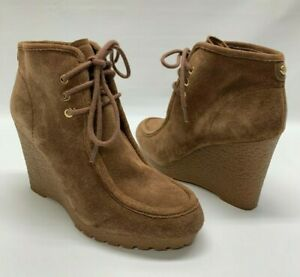Michael Kors Rory Wedge Bootie Tan Brown Suede Lace Up Ankle Boots Women's 7M