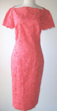 ZUHAIR MURAD Coral Cotton Silk Lace Embroidered Dress 8 10