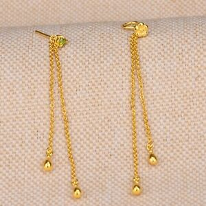 999 New Pure24K Yellow Gold Earrings Woman's Unique O Chain Link Drop Bead 60mmL