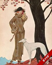 WOMAN IN FUR WITH GREYHOUND PET PUPPY DOG ART PAINTING PRINT ON REAL CANVAS
