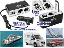 MODULO DOPPIA PRESA ELETTRICA 12V e 24V con 2 USB per BARCA CAMPER ROULOTTE AUTO
