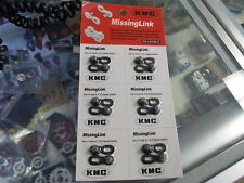 """KMC MISSING LINK 6 7 AND 8 SPEED 1/2"""" X 3/32"""" BIKE 7.3MM CHAIN LINKS--CARD OF 6"""