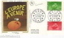 1985**ENVELOPPE SOIE**FDC 1°JOUR!!**CONSEIL DE L'EUROPE**TIMBRE Y/T 85-86