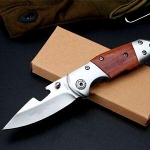 Drop Point Folding Knife Pocket Hunting Survival Tactical Combat Wood Handle EDC