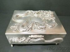 Chinese Export Silver Dragon Box NANKING Ruby Eyes