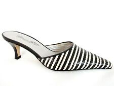 GLAMOUR FOR WOMAN LADIES BLACK-CREAM LEATHER HEELS CASUAL SHOES UK 2.5 - EUR 35
