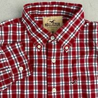 Hollister Button Up Shirt Mens M Red White Black Long Sleeve Cotton Check Casual