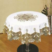 Embroidered Hollow Floral Fabric Round Tablecloth Lace Table Cloth Cover D
