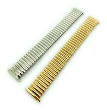 16mm 18mm 20mm 22mm Shiny Silver Gold Stainless Stretch Expansion Watch Band ST9