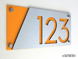 Modern House Numbers, Alucobond with Yellow Acrylic - Sign Plaque - Door Number