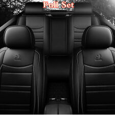 Black PU Leather Front+Rear Car Seat Cover 5D Full Coverage Auto Styling Cushion
