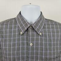 Peter Millar Mens Gray Purple Black Check L/S Dress Button Shirt Sz XL X-Large