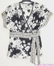 White House Black Market Blouse Silk Floral Wrap Top Kimono Sleeves Black L