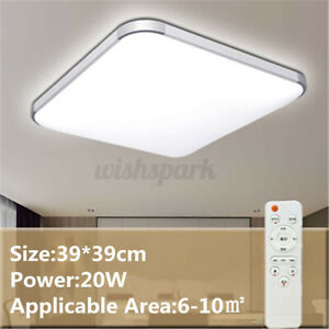 Remote Control Dimmable LED Flush Mount Ceiling Light Bedroom Home Fixture