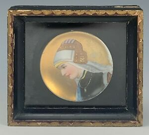 Antique Mystery Artist Painted Porcelain Maiden Face Wood Framed Mini Plate SMS
