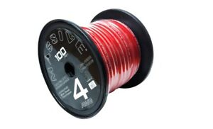 Massive Audio P4-100R - 4 AWG 100 Foot Red 100% Copper SilverTwisted Spool Wire