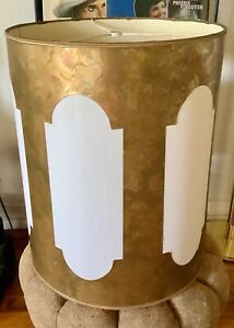 Vtg Mid Century Modern Brutalist White Gold Lamp Drum Shade cut out mcm retro