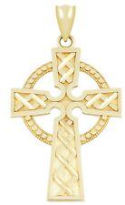 New 14k Yellow Irish Celtic Cross Knot Pendant Charm