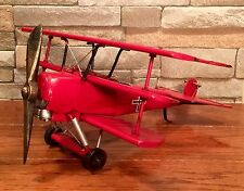 Tin Metal Red Baron WWI Propeller Tri-Plane Vintage Model Airplane