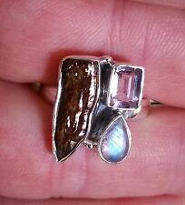 566 Rainbow Amethyst Biwa Pearl 925 sterling silver ring sz S/9.5 rrp$89.95