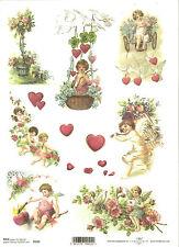 Carta di riso per decoupage scrapbooking, Angelo AMOR Cupido Cuore Love a4 ITD r292