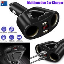 LCD Car Dual USB Charger Cigarette Lighter Socket Splitter 12-24V Power Adapter