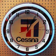 "19"" Cessna Aircraft Sign Blue Neon Clock Man Cave Bar Garage Airplane"