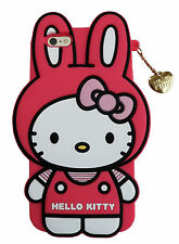 Hello Kitty in Rabbit Costume 3D Silicone Soft Case W Gold Chain For iPhone 6