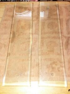 Antique Vintage Clear Beveled Glass Push Plates 2 pc DOORS Bevel 3×12×1/4 inches