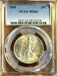 1945 50C Walking Liberty Silver Half Dollar - Really Nice coin! PCGS graded MS63