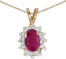 14k Yellow Gold Oval Ruby and Diamond Pendant (no chain) (CM-P6410X-07)
