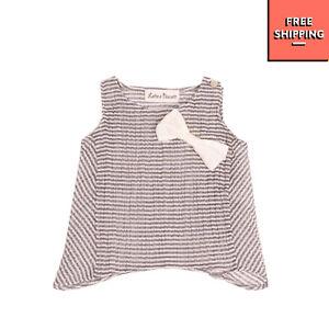 LATTE E BISCOTTI Vest Top Size 3M Crumpled Two Tone Striped Bow Asymmetric Hem