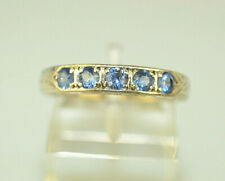 ANTIQUE 18K WHITE GOLD SAPPHIRE CHASED WEDDING BAND OR STACKING RING SIZE 6.75