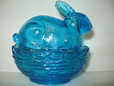 aqua blue glass bunny rabbit on nest / basket Easter egg covered candy dish 2 Pc