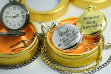 Personalised Engraved Silver/Gold/Black Pocket Watch/Chain Gift Box wedding bday