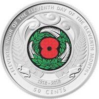 New Zealand 2018 50 cent Armistice Day commemorative coin