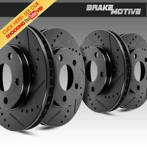 For Chevy Pontiac Saturn FRONT And REAR BLACK DRILLED And SLOTTED BRAKE Rotors
