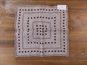 BRUNELLO CUCINELLI beige linen cotton polka dots pocket square authentic - NWT
