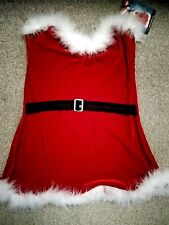 Ladies Mrs Claus Santa fancy dress outfit strapless dress red/white BNWT