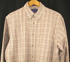 PENDLETON Cream Burgundy Tan Check Plaid Long Sleeve Shirt Broadway Cloth Sz L