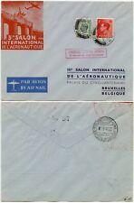 1947 Salon Aeronautique Exhibition Illust. Gb to Belgium Courrier Special Cachet
