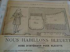 """PATRON ORIGINAL  POUPEE """" BLEUETTE """"ROBE D'INTERIEUR  MAI   1920"""
