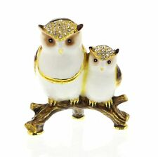 MOTHER with BABY OWL Trinket Box / Ornament Gift *NEW* Boxed