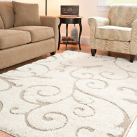Cream Beige Color Pattern New 8x10 Ft Large Size Power Loom Shag Carpet Area Rug