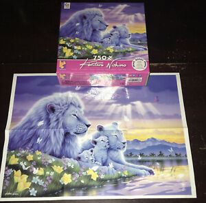 CEACO KENTARO NISHINO 750 Piece Jigsaw Puzzle White lions Cubs Artwork Poster
