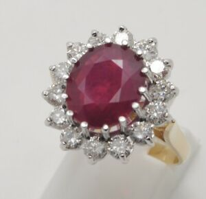 Beautiful 5 Carat Ruby & Diamond 18ct Gold Cluster Ring Size UK-P 1/2 US-7 3/4