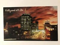 Hollywood At Night Vine Street, Capital Records Building, California CA Postcard