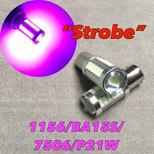 Strobe Flash Rear Turn Signal light 1156 BA15S 7506 P21W Purple LED Bulb W1 E